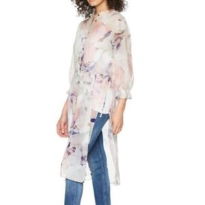 Vince Camuto Side Tie Diffused Bloom Tunic EUC Sm